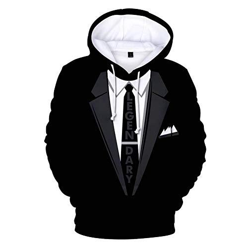 Stylish 3D Printed Tie Tuxedo Suit Men's Hoodie Party Wedding Sweatshirt Jacket (S, Black 1)