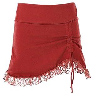 Guru-Shop Minifalda con encaje, pixifalda muy corta, falda de festival, para mujer, de algodón, faldas alternativas | DeHippies.com