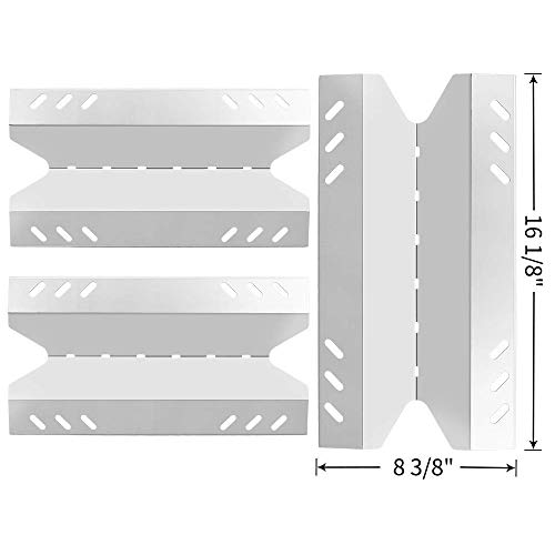 SHINESTAR Grill Replacement Parts for Outdoor Gourmet BQ06043-1, Members Mark BQ05046-6A, BQ06042-1, Kenmore, BBQ Pro, 3 Pack 16 1/8 inch Stainless Steel Heat Shield Plate Tent Flame Tamer(SS-HP041)