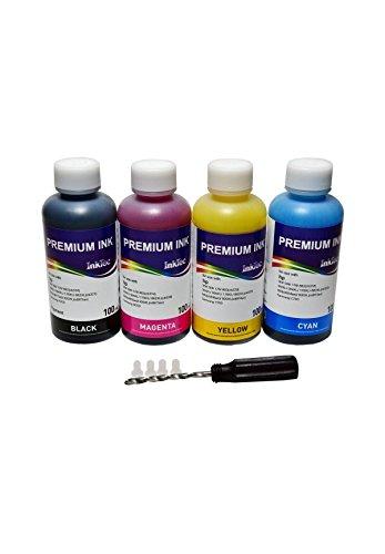 Nachfüllpackung für HP 903, 903 XL - Original HP Officejet Pro 6960 All-in-One - Nachfüllset enthält: 400 ml Premium Inktec Pigmenttinte, 1 Bohrer, 4 transparenter Deckel und Spritzdüse für HP Tinte