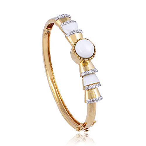 Spectrum Jewels Mother of Pearl SI/HI Diamond Bangle Gemstone Bracelet 18k Yellow Gold Jewelry for Girls and Women