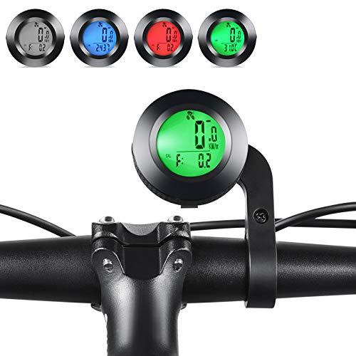 Fahrradcomputer,3 Farben LCD Hintergrundbeleuchtung Drahtloser Wasserdichter Kilometerzähler, Drahtlos Radcomputer mit Automatisches Aufwachen,Geeignet für alle Fahrradtypen Realtime Speed Track