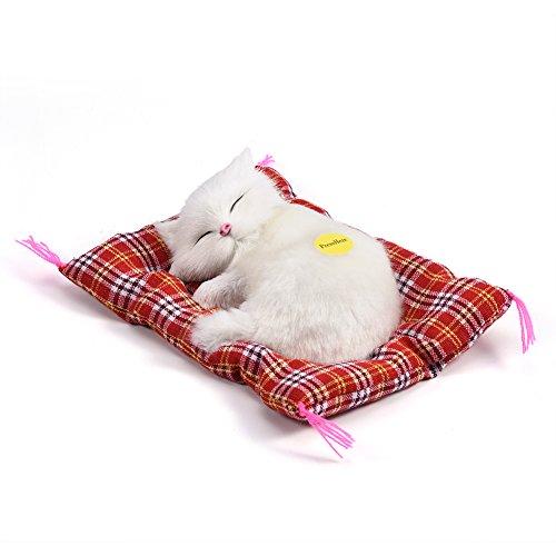 Gato de felpa para dormir de simulación con sonido lindo, cama de felpa suave Gato para dormir Muñeca de peluche Decoración del hogar Regalo popular para niños pequeños(Blanco)