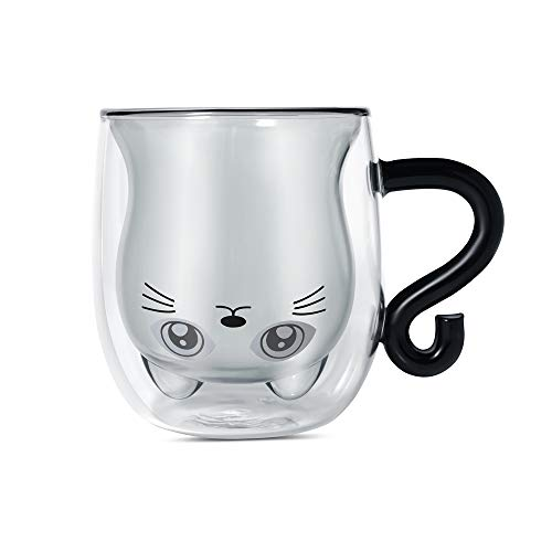 Schwarze Katze Becher, Doppelwandiger Glasbecher, Tee Isolierglas Süßes Tier Mit Katzenschwanzgriff Kaffeebecher Latte Cappuccino für Weihnachten Halloween das Erntedankfest Freunde (Katze)