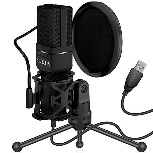 IUKUS PC Mikrofon, USB Mikros Computer Kondensatormikrofon mit Ständer & Filter Gaming Mikros Plug & Play Microphone USB für iM@c PC Laptop Desktop Windows Computer
