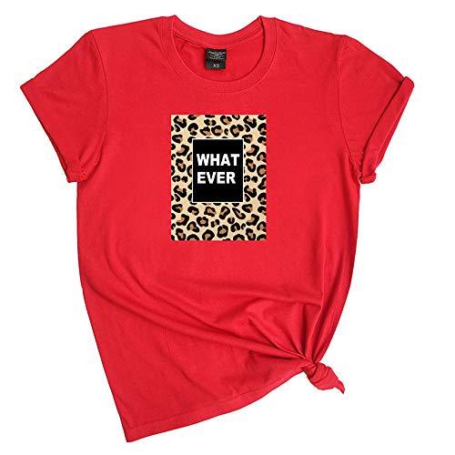 Camiseta de manga corta de algodón de verano con estampado de leopardo y blusa para mujer de talla grande con estilo informal y holgado. I XL