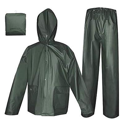 Rain Coat for Women Men Waterproof Jacket with Pants 2Pcs Ultra-Lite Suits EVA Reusable Portable Packable (Medium, Dark Green)