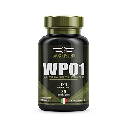 CarbsandProtein WP01 - Integratore Pre-Workout, Testosterone Booster e Fat Burner - con Fieno Greco, Rhodiola, Pfaffia, Muira Puama, Maca Andina, Creatina e Arginina - 120 Compresse, 30 Porzioni