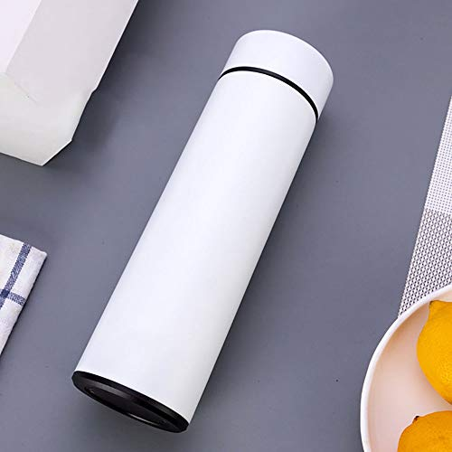 HUIHUAN Thermos Cup 2019 Nueva Creativa Dedo Inteligente Pantalla Táctil Temperatura Taza 500 ml Acero Inoxidable de gama Alta Taza de Regalo de Coche,White