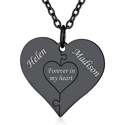 Custom4U Dos Nombres Personalizados Collares Negros Románticos para Parejas Cadena Acero Inoxidable 316L Colgante Corazón Puzzle Personalizado
