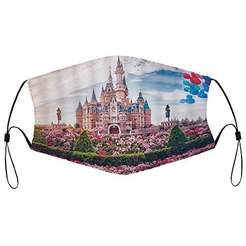 Spring Flower Disneyland Reusable Face Mask Cosplay Washable Face Covering Breathable Neck Gaiter Adjustable Face Decor for Men Women