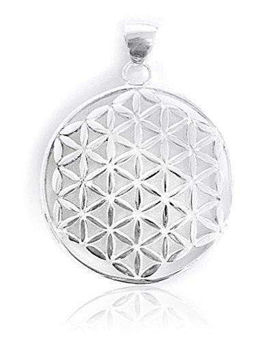 Colgante Flor de la Vida, Plata de ley 925, 32mm de diámetro vida flor Amuleto Talisman, armonía Energía Símbolo