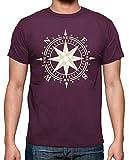 latostadora - Camiseta Rosa de los Vientos para Hombre Burdeos XL