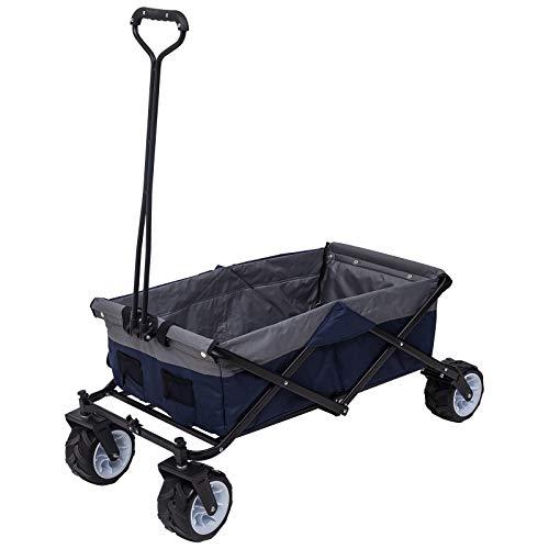 Laneetal Faltbar Handwagen Klappbar Bollerwagen Transportwagen Kinder Wagen mit Seitentasche für Garten Camping Einkaufen Blau