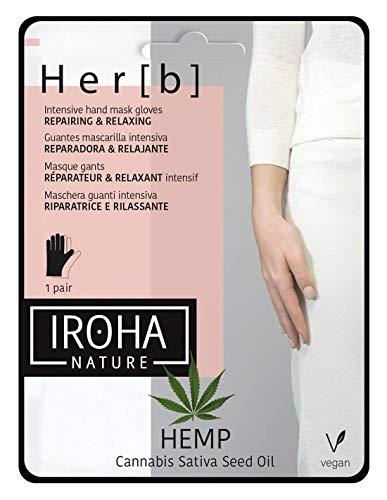 Iroha Nature - Guantes Mascarilla para Manos & Uñas Reparadores & Relajantes con Aceite de Semilla de Cannabis, 2 unidades para 1 uso | Mascarilla Manos Reparadora Hemp Oil