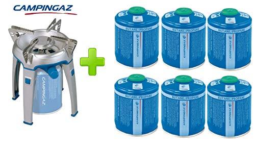 ALTIGASI Réchaud à gaz Bivouac Campingaz Puissance 2600 W avec Sac de Transport - Système de Cartouche Amovible + 6 Cartouches à gaz CV470 de 450 g