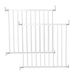 2 stair gates for £39.90. DOES NOT include delivery. Screw Fitted. White metal Gate Two Way Opening. Double Locking Mechanism Standard Width: 71.5cm - 78.5 cm Comforms to the EN1930:2011 EU Safety Standards