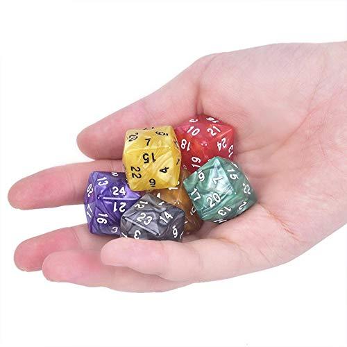 Fijnere 1 Stuks D24 Meerzijdige Acryl Dobbelstenen voor TRPG Game Lovers 24 Gezichtsdobbelstenen Voor Game Dungeons & Dragons Veelvlakkig, Rood