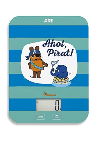 """Die Sendung mit der Maus - Küchenwaage \""""Ahoi Pirat\"""" (Digitale Waage für Küche und Haushalt, präzise und grammgenau bis 5 kg, mit Batterie) blau grün"""