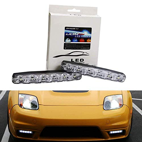 iJDMTOY (2) Universal Fit 6000K Cool White 6-LED Daytime Running Lights Compatible With Cars, Trucks, etc