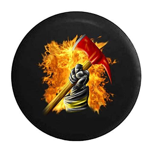 Fireball Flames Firefighter Holding Axe Cubierta de neumático ajustable con protección solar impermeable, adecuada para automóvil, SUV, Rv, remolque, cubierta de rueda de neumático de 16 pulgadas