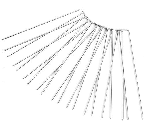 Ohuhu Garden Staples, 50-Pack 12 Galvanized Iron Landscape Fabric Pins, Heavy Duty Ground Stakes/Tent Pegs, Rust Resistant Grass Staple for Securing Ground Cover, Weed, Fabric & Fence Anchors