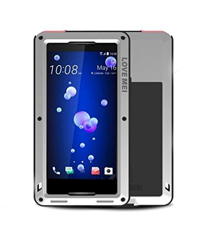 HTC U11 Hülle Case, Eastcoo wasserdicht stoßfest Alloy Aluminum Metal Bumper Gorilla Glass Soft silikon Military Schwer Metall Militär starkes stoßfestes hartes Hülle Tasche cover für HTC U11 (silver)