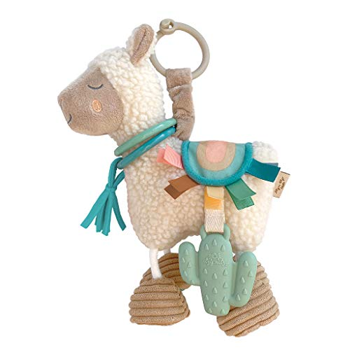 Itzy Ritzy Link & Love Toy for Stroller, Car Seat or Activity Gym, Features Textured Ribbons, Crinkle Sounds, Clinking Rings & Silicone Teether, Llama