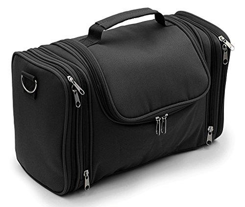 IGNPION Large Wash Bag Hanging Toiletry Bag Make Up Bag for Business Travel and Home Storage (Black)