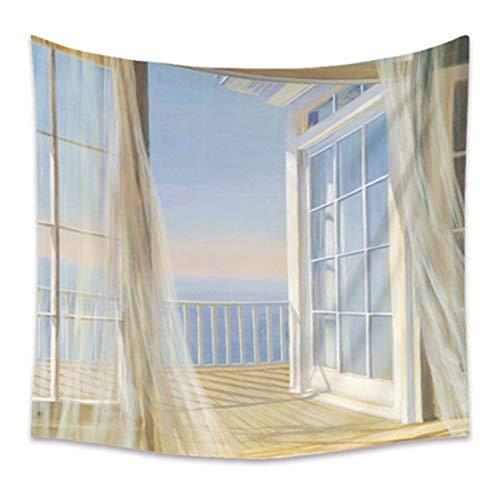 Tapiz de mar fuera de la ventana hippie colgante de pared cielo nocturno estrellado tapiz de luna tapiz de pared psicodélico tela de fondo a5 73x95cm