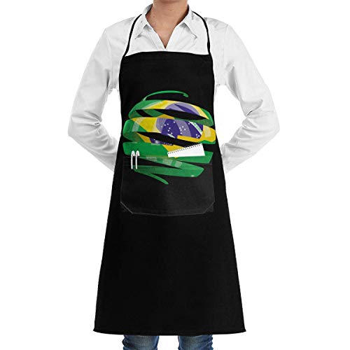 ewretery Flag Of Brazil 3D Personalized Grill Apron,Barbecue Apron,Waitress Waist Apron,Barista Apron,Kitchen Apron,Pocket Apron