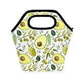 BALII Bolsa de almuerzo aislada aguacates aceite de oliva verde para mujeres y hombres, bolsa de almuerzo reutilizable impermeable picnic almuerzo caja para oficina