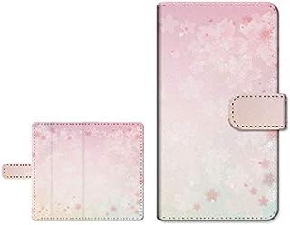 FREETEL P6 フリーテル ピー シックス 対応 スマートフォンケース 手帳型 スライドタイプ カードポケット スタンド機能 内側カラー:ホワイト 桜(type001)
