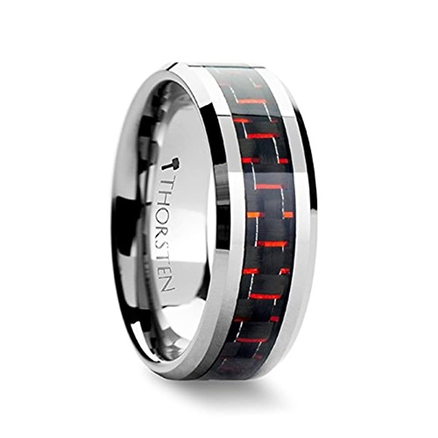 Mens Tungsten Wedding Band Inlaid a Black & Red Carbon Fiber 8mm