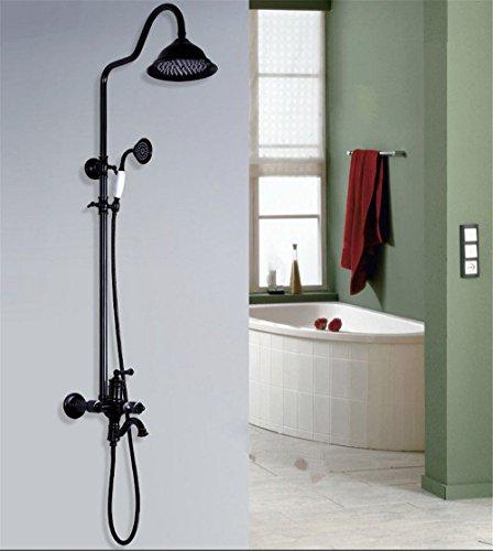 Gyps Faucet wastafelmengkraan met één hendel van koperen douchekop kit zwart oud om koud water antiek badkamer muur gemonteerd armaturen handdouche, mengkraan W