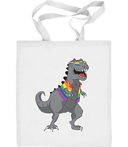 Rainbow T-Rex LGBT Lesbian und Gay Bekleidung Jutebeutel Baumwolltasche One Size Weiß