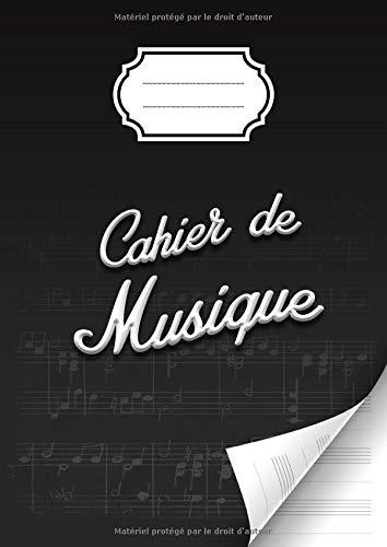Cahier de musique avec portées et annotations pour la composition musicale - solfège - partitions - 48 pages - Grand format A4 : 21x 29,7 cm - Couverture brillante