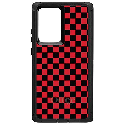 DistinctInk Case for Samsung Galaxy Note 20 Ultra (6.9' Screen) - Custom Black OtterBox Defender - Red Black Checkered Flag Geometric - Geometric Checkered Pattern
