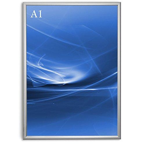 Master of Boards Alu Klapprahmen Plakatrahmen Wechselrahmen Bilderrahmen Ladeneinrichtung Silber Aluminium Rahmen für Plakate Rahmen für Bilder Rahmen Aushang Klicksystem (Gehrung, DIN A1)