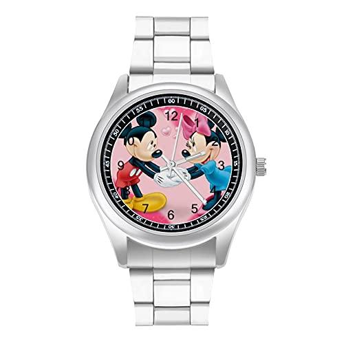 Mickey Mouse Minnie Reloj de pulsera de acero con diseño de atmósfera simple y bonito estilo deportivo informal