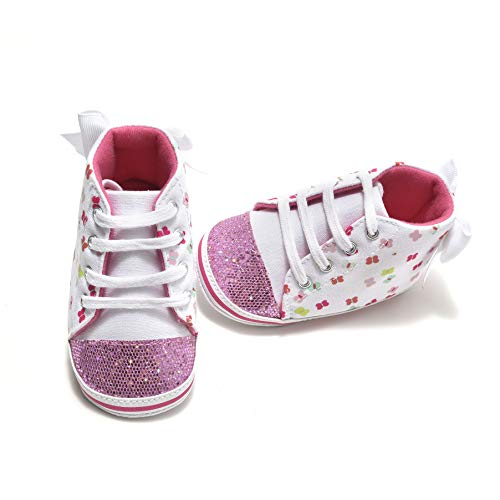Comway Baby Girls Walking Shoes Infant Newborn Toddler Soft Sole Canvas Sneakers for First Walkers 0-18 Months (Pink Butterfly, 6-12 Months)