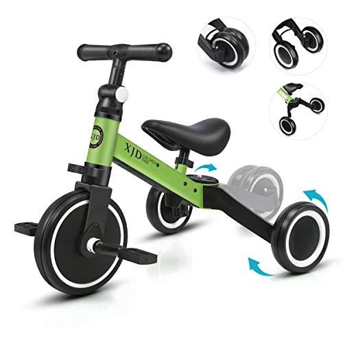XJD 3 in 1 Kids Tricycle for 10 Month to 3 Years Old Kids Trike 3 Wheel Toddler Bike Boys Girls Trike for Toddler Tricycle Baby Bike Infant Trike with Adjustable Seat Heigh and Removable Pedal, Green