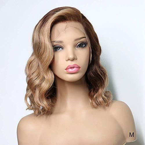 FHKGCD Ombre Couleur Avant De Lacet Perruques De Cheveux Humains pour Les Femmes Miel Blonde Ondulée Bob Perruque Remy Cheveux 13X4 180% Densité, 14 Pouces, 180%