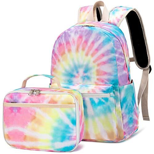 Backpack for Kids Girls School Backpack with Lunch Box Preschool Kindergarten BookBag Set (Tie Dye Yellow)