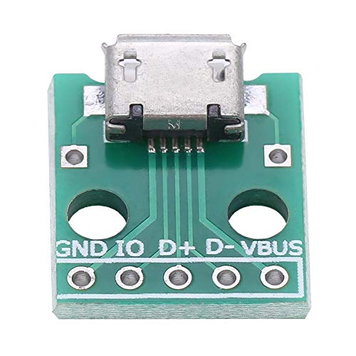 10pcs Micro USB Breakout Placa Hembra Zócalo a la placa adaptadora DIP, Conector de adaptador de paso de 5 pines de 2.54mm