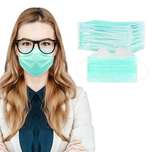 50/100 Pcs 3-Ply Disposable Face Macks, Anti-Fog Face Shield for People Who Wear Glasses, Latest Technology (100, Green)