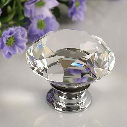 EisEyen - Maniglia per Mobile in Cristallo Trasparente, 30 mm, per Porte e cassetti, Senza Viti