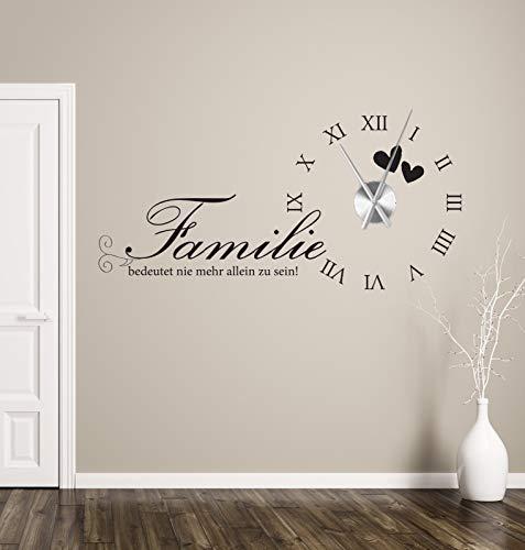 tjapalo® a235 Wanduhr Wohnzimmer Wandtattoo Uhr Sprüche Zitate Wandspruch Familie bedeutet nie mehr allein zu sein Wandaufkleber mit Uhrwerk, Größe: B120 x H58cm (+Uhrwerk silber), Farbe: Weiß