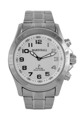 Sprechende Funk-Armbanduhr für Herren mit Gliederarmband Solar White