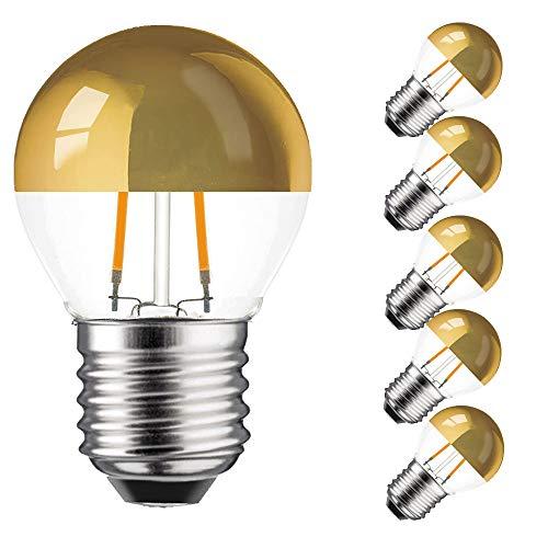 5 x LED Filament Kopfspiegel Tropfen 2W = 25W E27 KVG extra warmweiß retrofit Nostalgie (2 Watt 2200K gold, 5 Stück)
